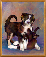 Hand-painted  dog portrait by Karen Sperling based on a photo by Andre Hote.