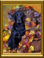 Hand-painted portrait of Rico the Therapy Dog by Karen Sperling based on a photograph by Celebrity Pet Photographer Richie Schwartz.