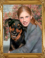 Hand-painted dog portrait by Karen Sperling based on a photograph by Celebrity Pet Photographer Richie Schwartz.