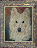 Hand-painted traditional oil dog portrait by Karen Sperling based on a photograph by Jennifer Gunderson.