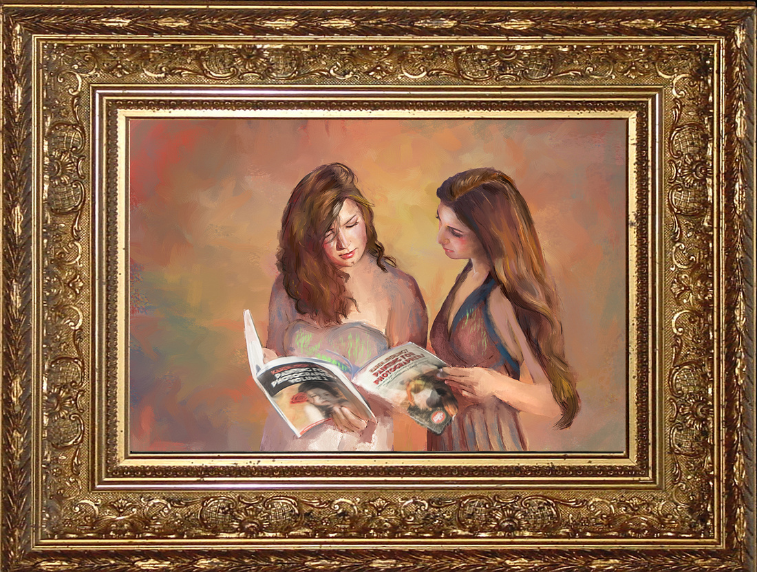 Hand-Painted Portrait of Sisters
